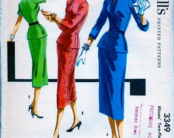 UNCUT * 1950's  McCall's Pattern 3349  - ELEGANT Misses' Two-piece Dress // Size 18, Bust 36