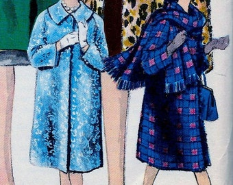 UNCUT * 1960s Vogue  Pattern 5131  -   Ladies' High Fashion Coat & Scarf  * Size 12 * bust 32