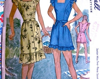 Playsuit Pattern: 1940s McCall Pattern 6051 * UNCUT * Ladies' One Piece Playsuit & Overskirt Ensemble *Size 20 * Bust 38