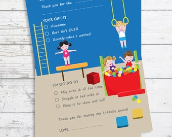 Tumble Gym - Fill In The Blank Birthday Party Thank You Card  - Professionally printed *or* DIY printable PDF