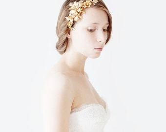 Nature Inspired Brass Bridal Hair Comb, Wedding Hair Accessory, Floral Bridal Headpiece - Style 514