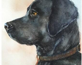 Black Lab Dog Watercolor Print Labrador Retriever Giclee Art Print Animal Nursery Decor
