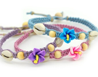 Hibiscus Anklet,  Beach Anklet, Flower Anklet,  Macrame Anklet, Hawaii Jewelry, Fimo Flower