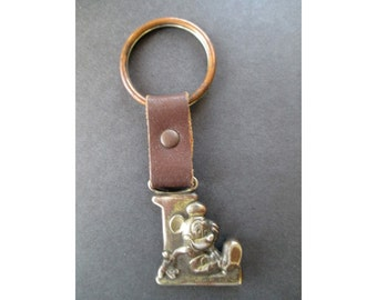 Mickey Key Chain * Leather And Metal * Letter L * Vintage Key Ring