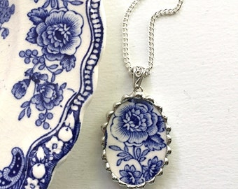 Recycled china pendant. Broken china jewelry necklace pendant beautiful antique blue floral English transferware