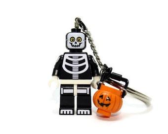 Skeleton Keychain - made from Series 14 LEGO (r) Minifigure, Halloween Keychain