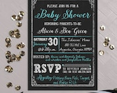 Custom Printable Couples Baby Shower Invitation, Chalkboard Inspired Announcement, Chalk Birthday Boy Party Invitation