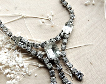 Vintage Rhinestone Statement Necklace Crystal Necklaces Antique Estate Costume Jewelry Clear Silver