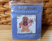 Mill Hill Cross Stitch Kit - Gingerbread Boy - Winter Holiday Collection - Free U.S. Shipping