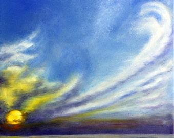 Sunrise Painting, Sunset Painting, Ocean Painting, Cloud Painting, Ocean Sunrise, Ocean Sunset, Seascape, Original Oil Painting, Helen Eaton