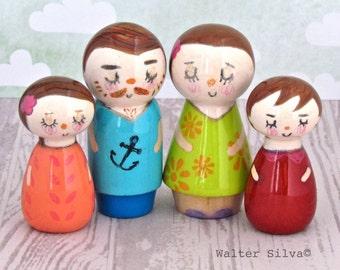 Peg Doll Family by Walter Silva - Modern trendy Handmade Toys - Family Peg dolls Wooden Toys - Art Dolls