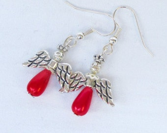 Red pearl angel earrings, silver hooks, Christmas dangle earrings