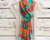 Tie Dye Scarf, Boho, Turquoise Scarf, Long Scarf, Orange Scarf, Chiffon Scarf, Sheer Scarf, Wrap, Shawl, Jannysgirl