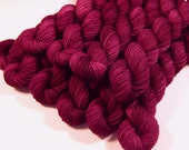 Mini Skeins - Hand Dyed Yarn - Sock Weight 4 Ply Superwash Merino Wool Yarn - Plumberry Semi-Solid - Knitting Yarn, Sock Yarn, Red Violet