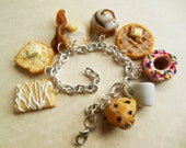Polymer Clay Breakfast Themed Charm Bracelet, Miniature Food Jewlery