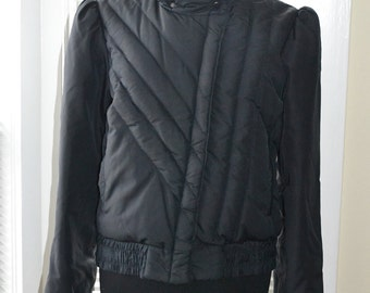 Vintage 80s Jacket - Black Quilted Down Puffer - Raised Collar - Asymmetrical Zip - s/m