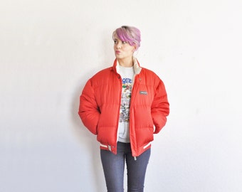 80s Jordache PUFF jacket . retro red snow bunny coat .medium.large .sale