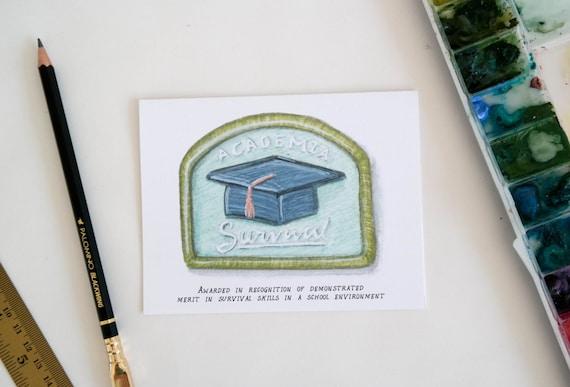 Academia Survival Merit Badge Graduation Card