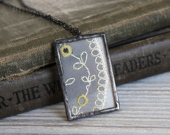 Handmade Antique Embroidery & Glass Soldered Necklace