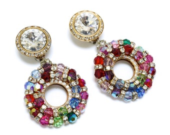 Most Best Giant Rainbow Showstopper Rhinestone Earrings