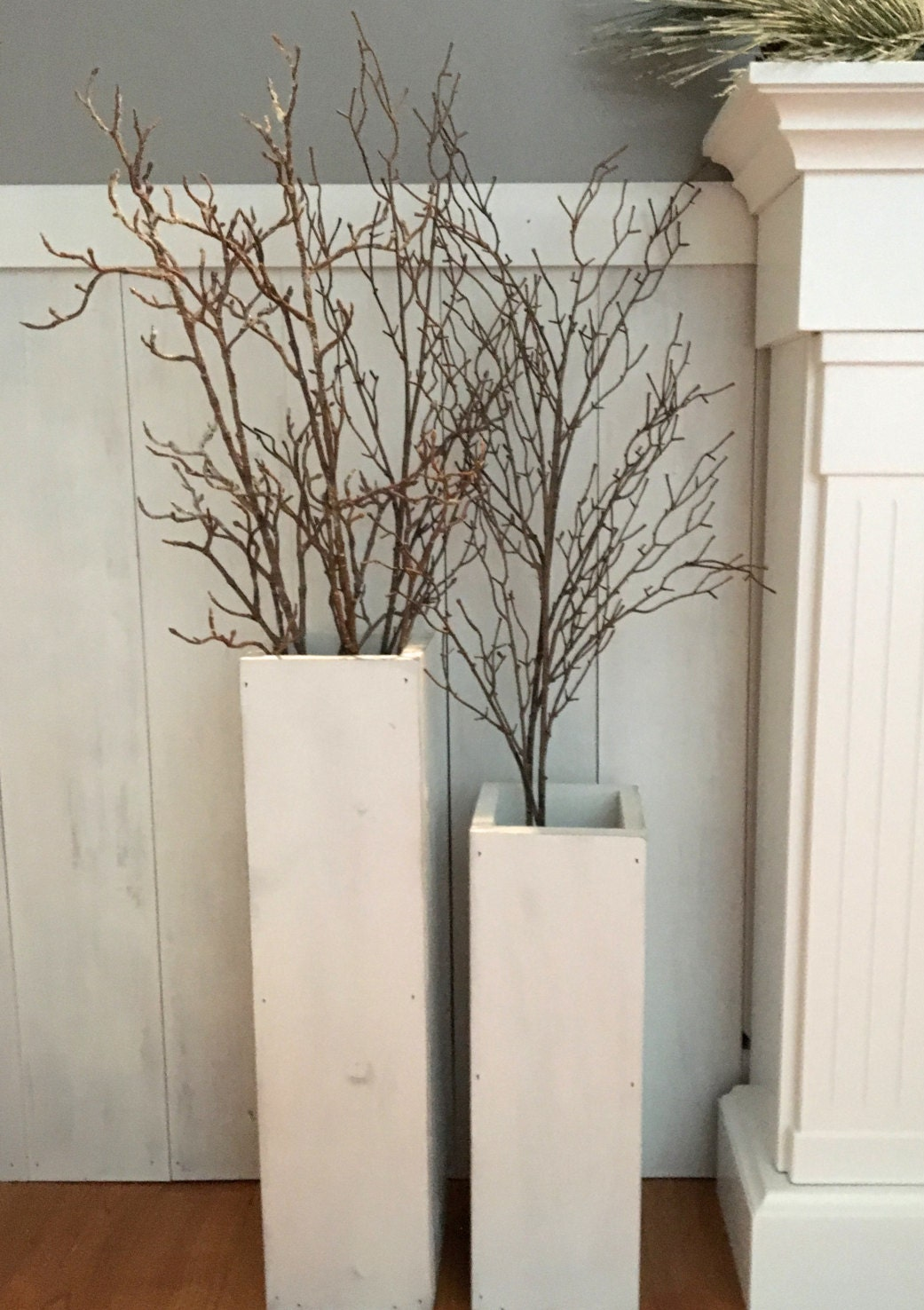 White wooden vases reclaimed wood distressed wood floor for Floor decoration