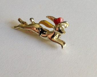 Racing Rabbit Pin Red Top Hat Black Saddle