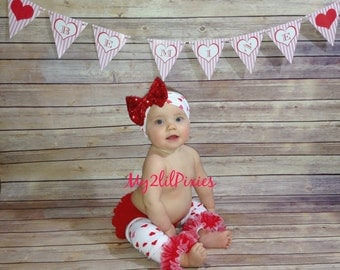 Valentines Baby Bloomers, Baby Girl Headband, Baby leg warmers, Chiffon Ruffle Bloomer, Leg warmers ,Valentines Day-Photo prop - 3 piece set