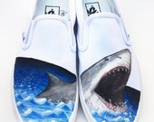 Custom Vans Hand Painted Shoes - Great White Shark