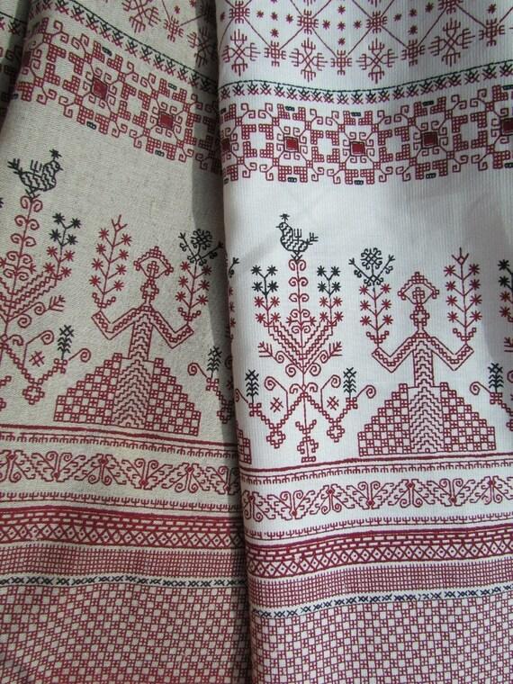 Vintage linen fabric by the yard Russian ethnic fabric folk