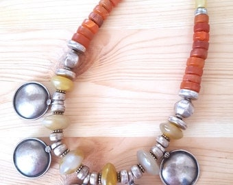 SALE>>> STUNNING 925 Tribal Carnelian and Agate Coin Necklace from Israel. Statement Necklace. Gift for her. Etsy Gift