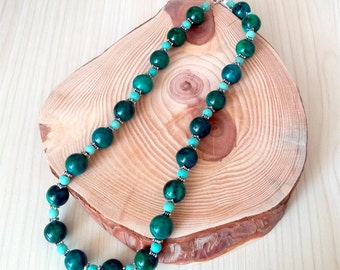 SALE... Absolutely Gorgeous Natural Chrysocolla & Turquoise 925 Necklace by GlamROX. Perfect Jewelry Gift. Gift for her. ETSY Gift.