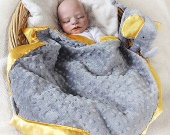 Gray Elephant Security Blanket baby blanket Lovey Blanket Satin Baby Blanket Stuffed Animal Baby Toy Jungle animal blanket - Customize Color