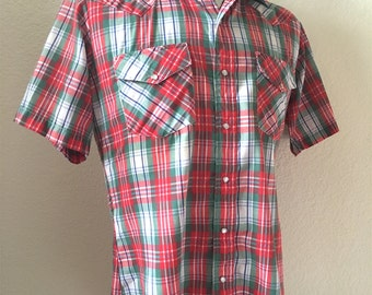 Vintage Men's 80's Karman, Western Shirt, Red, White, Green, Plaid, Short Sleeve (M)