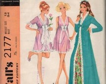 """McCall's 2177 """"Misses' Robe and Nightgown in Two Lengths"""" Size 12 Bust 34"""""""