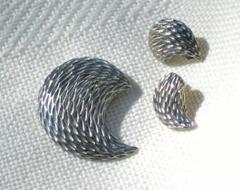 Paisley Brooch Earring Set Vintage 70s Jewelry Pin Silvertone