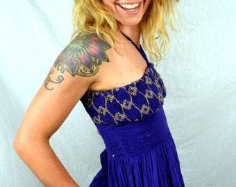 Vintage Purple Cotton Hippie Gauzy Cute Summer Dress