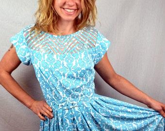 Vintage Blue Paisley 1950s 50s Dress