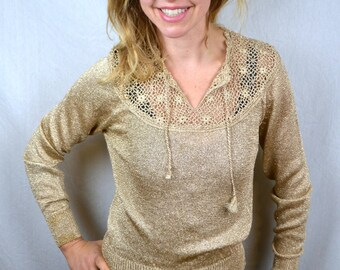 Vintage 1980s 80s Metallic Gold Sparkle Blouse Fun Top