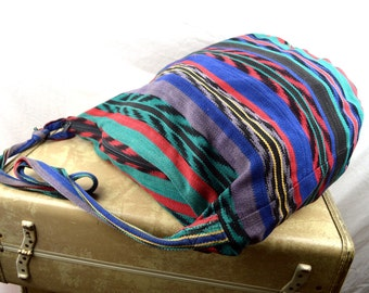 Vintage Woven Guatemalan Rainbow Fabric Tote Bag Purse
