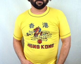 Vintage Hong Kong 80s Yellow Tee Tshirt