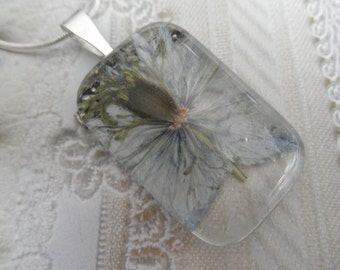 Soft Sky Blue Love In The Mist Glass Rectangle Pressed Flower Pendant-Gifts Under 30-Symbolizes Love and Affection-Nature's Wearable Art