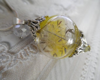 Dandelion Seed Yellow-Clear Swirled Glass Terrarium Reliquary Pendant-Ride The Wind-Hello Sunshine-Symbolizes Happiness-Gifts Under 35