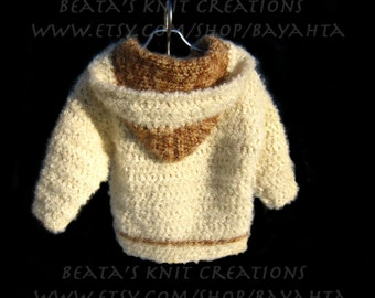 Kids, Crochet Cardigan Sweater, Beige  Brown, Jacket with Hood, Mohair Wool