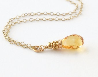 Citrine Pendant / Citrine Briolette Necklace / Gold Citrine Necklace / November Birthstone Necklace / November Birthstone Jewelry