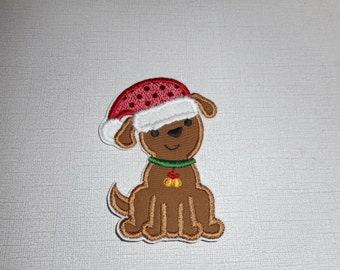 Free Shipping Ready to Ship Santa Dog fabric iron on applique