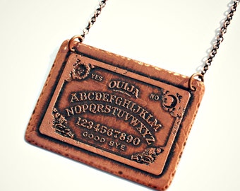 Ouija Board Necklace - Copper Pendant with image of the Spiritual Board, Toy, Copper Chain, Mystical, Spirit World, Talking Board, Magic