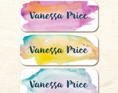 30 Name Stickers, Watercolor Background, Waterproof Stickers, Girl Stickers, Personalized Stickers, Girl Baby Bottle Labels (NS-04))