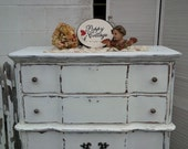 Dresser Vintage French Provincial Bow Front Highboy Chest of Drawers Poppy Cottage Painted Furniture