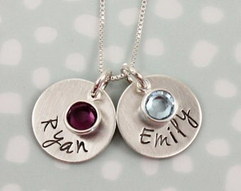 Name Birthstone Necklace Sterling Silver- Mothers Necklace with Childrens Name, Swarovski Crystals