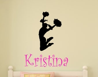 Unique vinyl wall decals by aluckyhorseshoe on etsy for Cheerleader wall mural